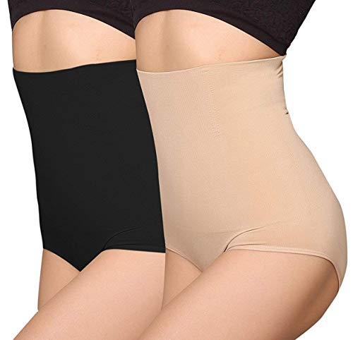 ANGOOL Contenitiva a Vita Alta Mutande Contenitive Pantaloncini Thong Shapewear Dimagrante Modellante Guaina Intimo da Donna 2 pz