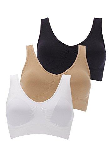 Boolavard Reggiseno Wellness 3-Set TM: Bianco, Nero e Color Pelle. GR. S - XXXL. per Ogni Figura, per Lo Sport e la Vita di Tutti i Giorni. Senza Cuciture, Traspirante (L:96-101CM (75C-85A))