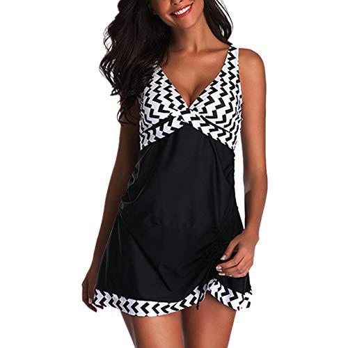 Chickwin Costume da Bagno, Donna Sexy Vita Alta Balze Capestro Bikini Set Due Pezzi Costumi Fasciatura da Bagno Swim Beach Wear Stampa (L, Nero B)