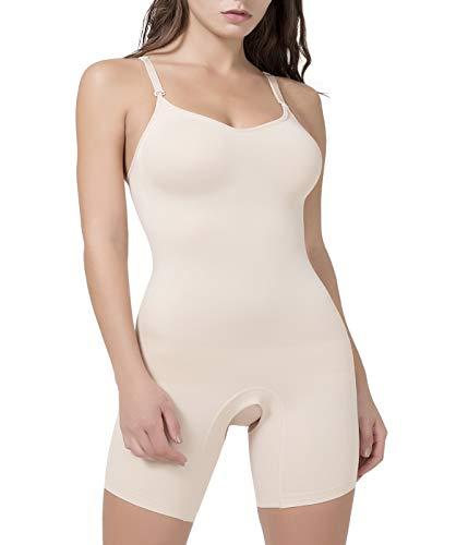 COMFREE Body Snellente Contenitivo Modellante Donna Intimo Modellant Senza Cuciture Shaper Traspirante Bodysuit Pancia Piatta Regolabile Corsetto Push Up Seno Liscio Shapewear Beige L