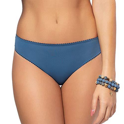 Gorsenia Slip Femminile Brasiliano con Ricami K489 Blue Tatoo, Blu,XL