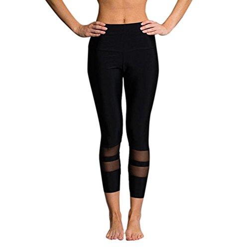 Homebaby 3/4 Manica Yoga Leggings Sportivi Donna Pantaloni Tagliati - Eleganti Leggings Sport Opaco Fitness Spandex Palestra Pantaloni Leggins Push Up- Vintage Pantaloni Tuta Donna (S, Nero)
