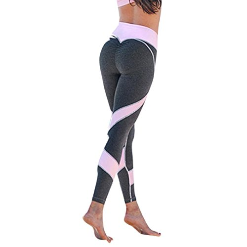 Homebaby A forma di Cuore Leggings Sportivi Donna - Maglia Eleganti Leggings Sport Opaco Yoga Fitness Spandex Palestra Pantaloni Leggins Push Up - Pantaloni Tuta Donna (S, Grigio)