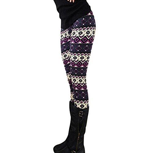 Homebaby Inverno Spesso Caldo Leggings Donna Stampa di Natale Eleganti Leggings Vello Sportivi Opaco Yoga Fitness Spandex Palestra Leggins Push Up Pantaloni Tuta (libero, multicolore F)