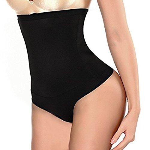 Intimo Modellante da Donna Guaina Contenitiva a Vita Alta Mutande Contenitive Pantaloncini Thong Shapewear Dimagrante (Nero, L)