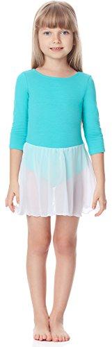 Merry Style Body Vestitino Ballerina Bambina e Ragazza Manica 3/4 MS10-140 (Turchese, 104)