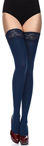 Merry Style Calze Autoreggenti in Microfibra Donna 40 DEN (Nero, 1/2 (32-38))