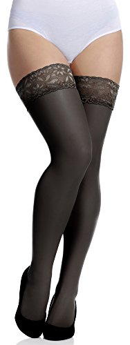 Merry Style Donna Calze Autoreggenti Plus Size MS 164 15 DEN (Nero, XL-XXL)