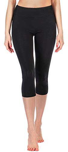 Merry Style Leggings 3/4 Pantaloni Capri Donna MS10-220 (Nero, L)