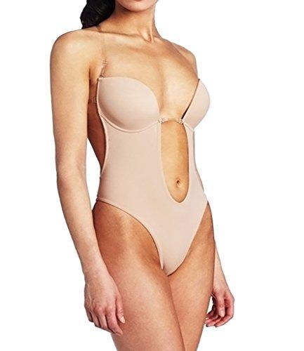 Ningmi - Body intimo da donna, con coppa sagomata, scollo a U, senza cuciture, a perizoma beige M