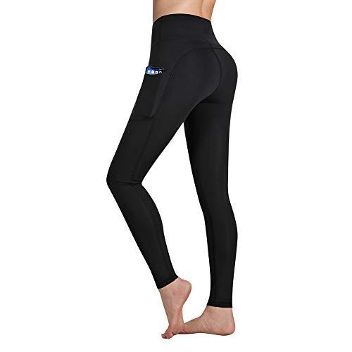 Occffy Leggings Fitness Donna Allenamento Opaco Vita Alta Yoga Spandex Palestra Pantaloni DS166 (Nero, M)
