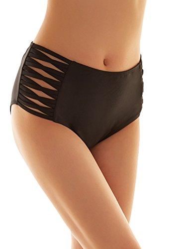 SHEKINI Sexy Donna Nero Costumi da Bagno Donna Vita Alta Brasiliana Briefs Pantaloni Parte Inferiore Tanga Bikini Slip Nuoto Mutande Mare e Piscina Plus Size S-XXXXL (Small/(UK 8-10), Strapped Sides)