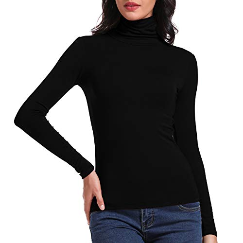 SLIMBELLE Donna Camicia Dolcevita Manica Lunga Basic Manica Lunga Slim Fit Top Pullover T-Shirt Autunno Inverno
