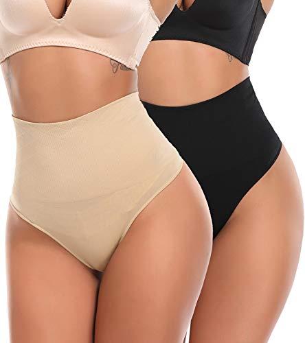 SLIMBELLE Donna Slip di Controllo Perizoma Mutandine a Vita Alta Girdle Tummy Slimmer-Beige-3XL