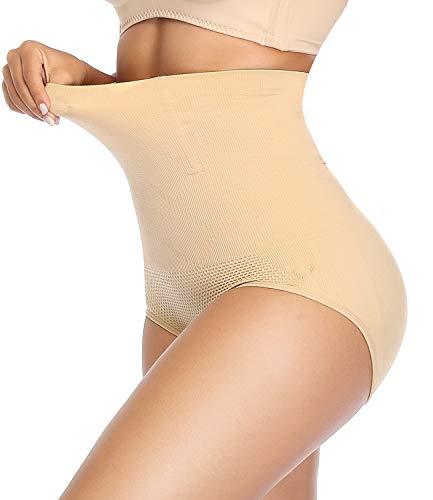 SLIMBELLE Mutande Contenitive Donna Vita Alta Post Parto Intimo Modellante Shapewear Slip-Beige-M/L