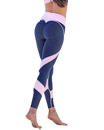 Tomwell A Forma di Cuore Leggings Sportivi Donna - Maglia Eleganti Leggings Sport Opaco Yoga Fitness Spandex Palestra Pantaloni Leggins Push Up - Pantaloni Tuta Donna A Blu EU XS