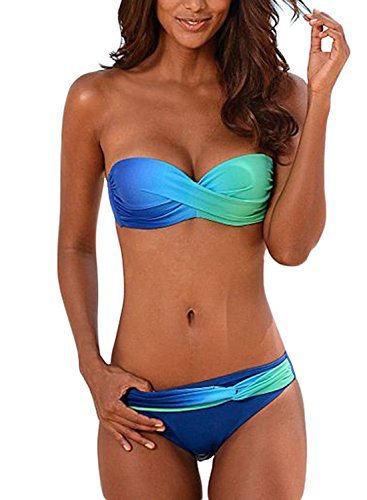 Aleumdr Sexy Tie Dye Set Bikini Donna Push-Up Blu