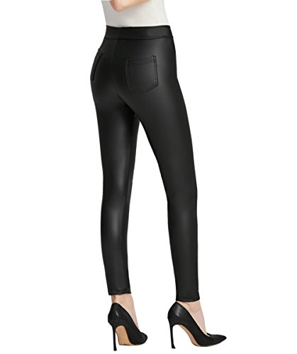 Everbellus Nero Leggings Ecopelle con Tasca