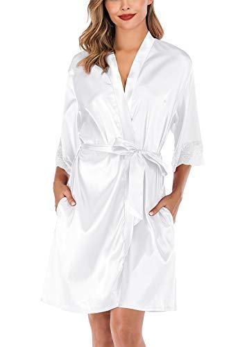 Vestaglia Kimono Donna, Scollo a V in Pizzo - ABirdon