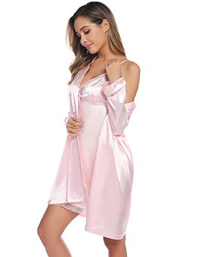 Aibrou Vestaglia Donna Sexy in Seta 2 Pezzi V-Collo