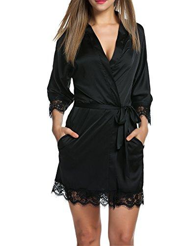 BeautyUU, vestaglia da donna in raso corta con cintura