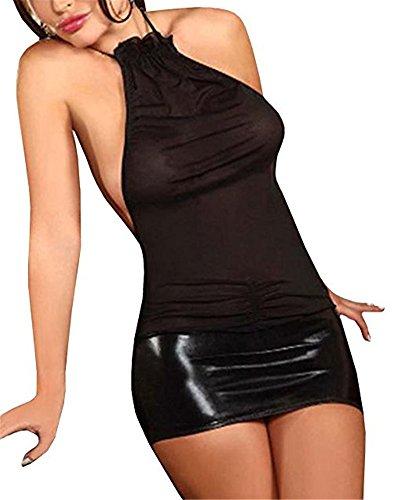 Befox Donne Sexy Lingerie Tentazione Trasparente Chemise Mini Abito Erotico Biancheria Intima Pigiameria Nero