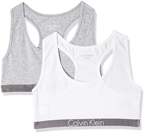 Calvin Klein 2 Pack Bralette Corsetto, Multicolore (1 Grey Heather / 1 White 033), 164 (Taglia Produttore: 14-16) Bambina