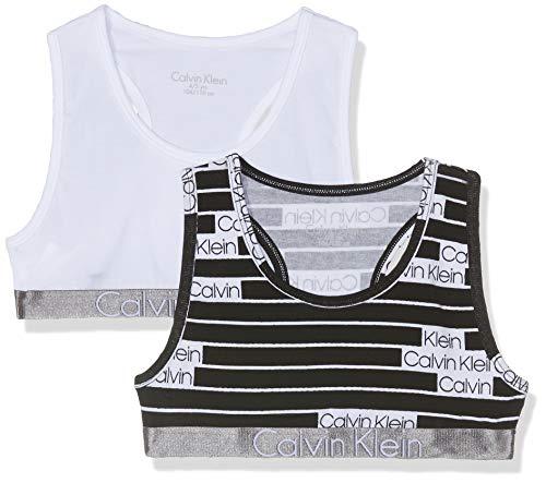 Calvin Klein 2pk Bralette Corsetto, Bianco (1Censoredlogo/1White 016), 164 (Taglia Produttore: 12-14) (Pacco da 2) Bambina