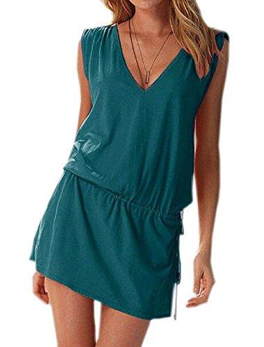Embryform Donne Profondo Scollo a V Swim Beach Dress Aperto-Back Beach Cover Up Tuniche