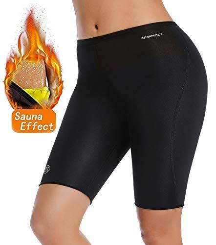 MISS MOLY Sauna Pantaloncino Pantaloni Dimagrante Donna Hot Sweat Neoprene Pants Sudorazione Effetto Leggings Shapers Snellente Cosce Gluteo Modellante Perdita di Peso Sportivo Fitness Reducer