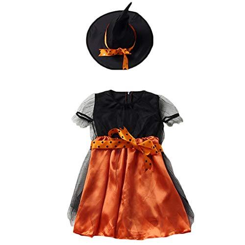 SEDEX - Costume da fata per Halloween, con gonna e cappello da strege, per bambini Arancione 110 cm