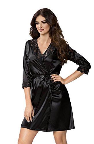 Selente Elegante Camicia da Notte Donna in Raso e/o Vestaglia Abbinata con Esclusiva Benda per Occhi, Vestaglia Nero, S (40/42)