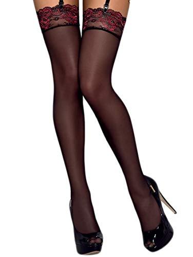 Selente Lovely Legs Seducenti calze per reggicalze con dettagli in pizzo, racchiuse in un'elegante confezione regalo, made in EU (L/XL, nero/bordeaux)