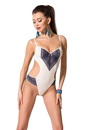 Selente Luxury Love Raffinato Body con Esclusiva Benda per Occhi in Raso, Crema/Blu, L/XL