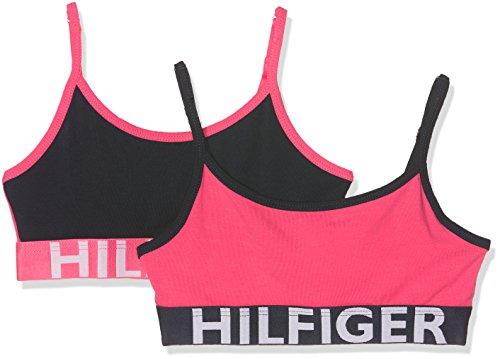 Tommy Hilfiger 2p String Bralette Colorblock Corsetto, Multicolore (Rouge Red/Navy Blazer 643), 104 (Taglia Produttore: 4-5) (Pacco da 2) Bambina