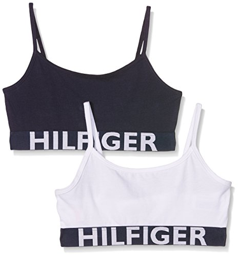 Tommy Hilfiger 2P String Bralette Corsetto, Bianco (White/Navy Blazer 902), 140 (Taglia Produttore: 10-1) Bambina