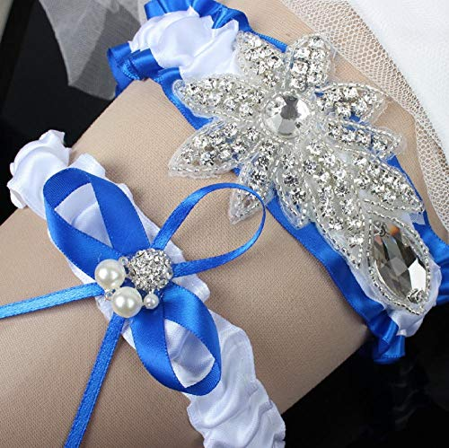 Charm4you Disegno Floreale da in Pizzo Giarrettiera,Cintura Reggicalze in Maglia Elasticizzata Blu Royal Fascia Alta-Royal Blue A10pcs_L,Giarrettiera Matrimonio ELEGANTO