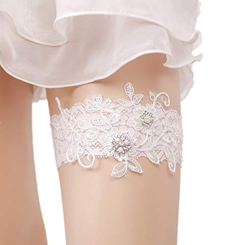 Giarrettiera Giarrettiere Sposa for la Sposa del Merletto della Perla Nuziale Giarrettiera for Pizzo Sexy Donne in Piedi Raso Anello Prom Giarrettiere Set (Color : White, Size : Free Size)