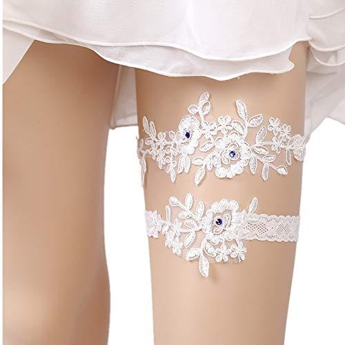 Ribbon Bow design elastico giarrettiera Nuziale giarrettiera for nuziale del merletto sexy delle donne raso Leg piede ad anello Stretch Prom giarrettiere Set lingerie da sposa giarrettiera in pizzo Ac