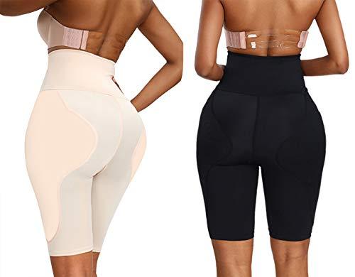 SPLLEADER - Pantaloncini a vita alta, modellanti per la pancia, da donna, taglia S a Plus, nero + carne,XXL