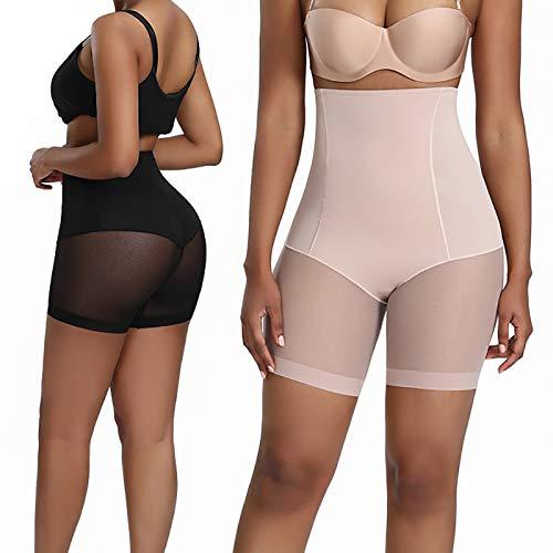 SPLLEADER Shapewear - Pantaloncini da donna per controllo della pancia, con funzione di controllo della coscia, a vita alta, colore nero + carne,L
