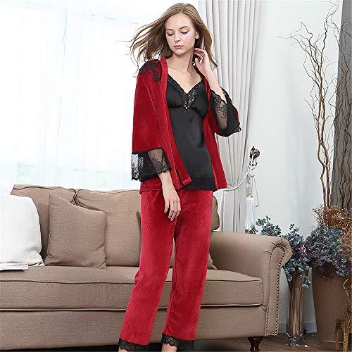 BGROEST-cloth Set Pigiami Donna Manica Lunga Pigiama Invernale da Donna Set Elegante Camicia da Notte da Notte da 3 Pezzi Loungewear per Donna (Colore : Rosso)