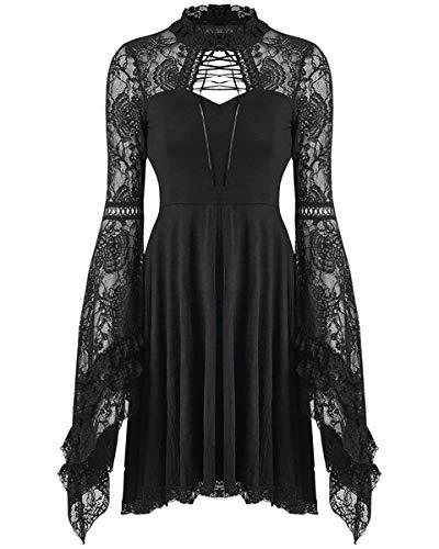 Dark In Love - Corsetto da vampiro gotico in pizzo nero, stile vintage steampunk strega Nero Large/X-Large