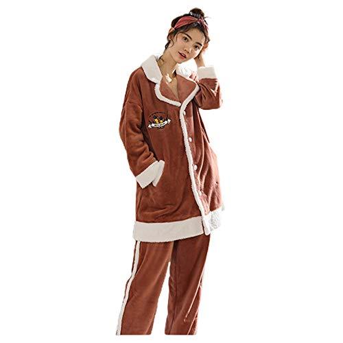 Dis-po Pigiama da Donna Pigiama Invernale da Donna PJ Set Camicia da Notte A Maniche Lunghe E Slip per Donna Indumenti da Notte Morbidi