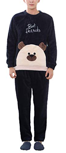 LLSS Abbigliamento da Notte da Donna Confortevole Flanella Morbida Basic Homewear Pigiama Marchi di Moda Inverno Manica Lunga Girocollo Addensare Caldo Modello di Cartone Anim