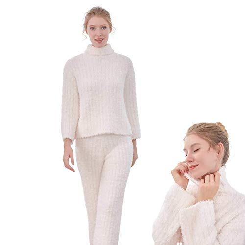 LLSS Pigiama da Donna Set da Notte Bianco Caldo a Collo Alto Pantaloni da Servizio per la casa Abito in Due Pezzi, Caldo, Tinta Unita