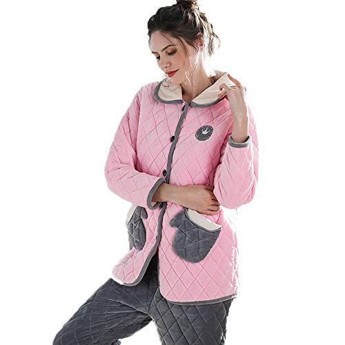 Nosson, set di pigiami, in pile spesso, caldo cardigan di media lunghezza, stile carino da notte, maniche lunghe, abbigliamento casual