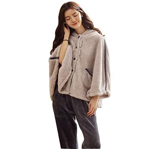 Pigiama da Notte Pigiama da Donna Pigiama Invernale in Flanella Set Abbigliamento da casa Confortevole Pigiama da Studente Carino Elegante Abbigliamento Casual