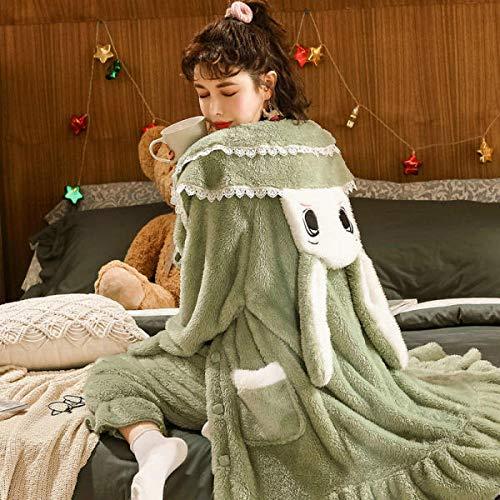 Pigiama invernale da donna principessa vento bavero mezza lunghezza accappatoio ispessito caldo casa servizio tuta KK collection-1_XL