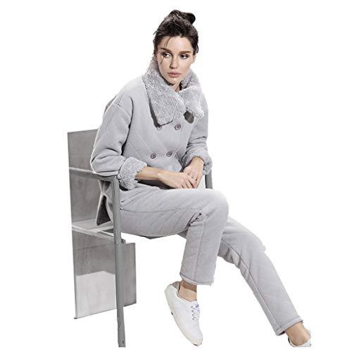 Pigiami Abbigliamento for La Casa A Maniche Lunghe Spesse da Donna Moda Casual con Collo in Pelliccia Calda Tuta for Servizio A Domicilio (Color : Gray, Size : XL)
